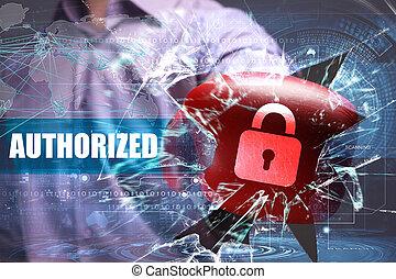 affari, tecnologia, internet, e, rete, security., autorizzato