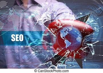 affari, tecnologia, internet, e, rete, security., seo