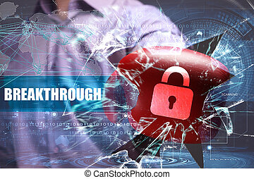 affari, tecnologia, internet, e, rete, security., sfondamento