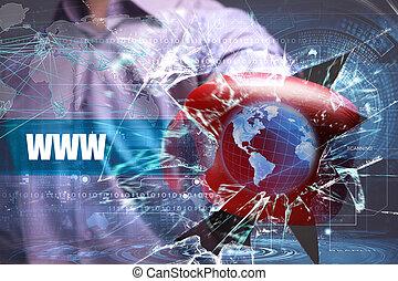 affari, tecnologia, internet, e, rete, security., www