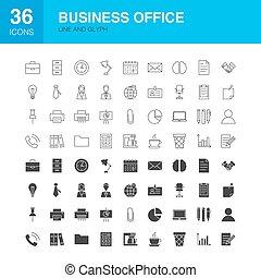 affari tela, icone ufficio, linea, glyph