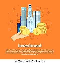 affari tela, investitore, soldi, bandiera, investimento