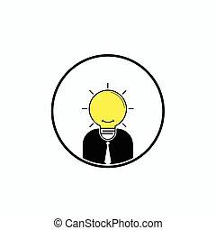 affari, testa, illustrazione, concept., grande, logotipo, uomo, alimentazione cervello, vettore, bulbo, luce, idea, ideas.