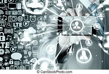 affari, titolo portafoglio mano, uno, telefono, mostra, il, sociale, rete
