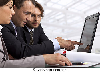 affari, tre, persone lavorare