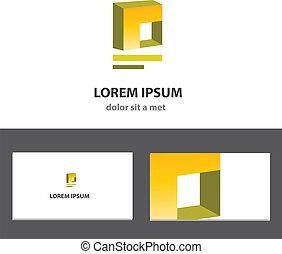 affari, vettore, disegno, sagoma, logotipo, scheda