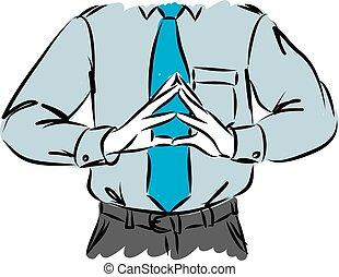 affari, vettore, gesto, illustrazione, uomo