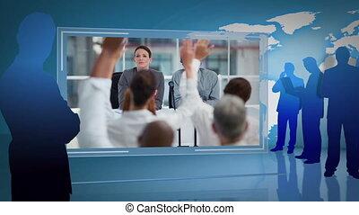 affari, videi, di, uno, riunione, con, uno