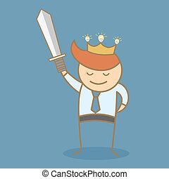 affari, vincere, corona, idea, spada, presa, uomo