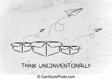 affari, vision:, pensare, esterno, scatola