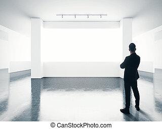 affari, vuoto, uomo, contemporaneo, schermo, gallery., dall'aspetto