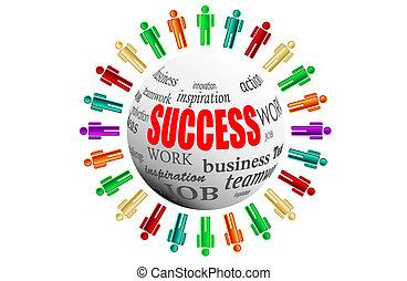 affari, workteam, succes, lavoro squadra