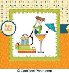 affascinante, seduta, giovane, compleanno, bordo, vetro., attraente, ragazza, scheda