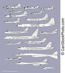 affattelseen, amerikaner, flyvemaskine, bombers., historie, udkast, vektor, profiles.