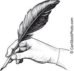 affattelseen, i, hånd, hos, en, fjer pen