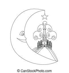 affattelseen, måne, illustration, middelalderlige, -, smil, slot, hånd