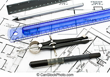 affattelseen, redskaberne, på, hus, plan, blueprints