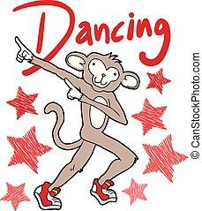 affe, abbildung, tanzen
