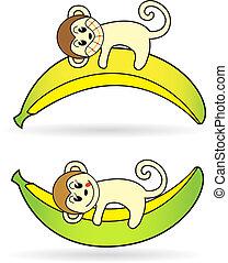 affe, besitz, banane