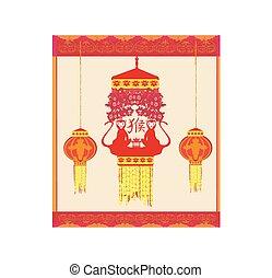 affe, chinesisches , design, jahr, neu , feier