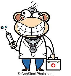 affe, doktor, satz, spritze, hilfe, karikatur, zuerst