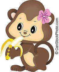affe, m�dchen, essende, banane