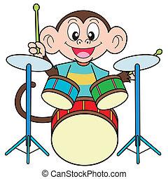 affe, spielen trommeln, karikatur