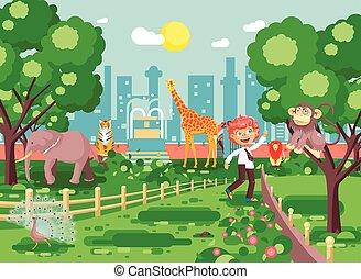 affe, standort, giraffe, tiger, kleingarten, zoo, pfau, rothaarige, wohnung, zoologisch, spaziergang, stil, abbildung, teases, elefant, banner, junge, schule, tiere, löwe, vektor, schulkind, wild, exkursion