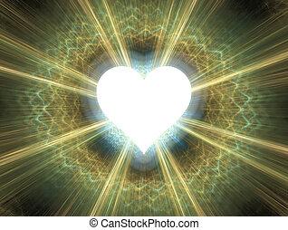 Affection - Heart shinning in light. Simple flat design.