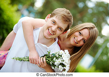Affection - Photo of happy girl with bunch of white...