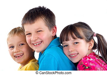 Affectionate children - Affectionate and happy young...