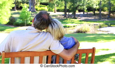 Affectionate couple sitting on park bench