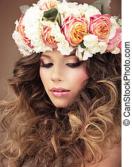 Affectionate Girl in Wreath of Colorful Flowers Dreaming
