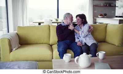 Affectionate senior couple in love sitting on sofa indoors...