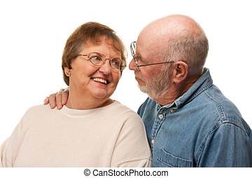 Affectionate Senior Couple Portrait - Affectionate Happy...