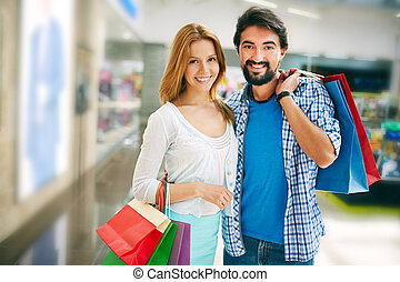 Affectionate shoppers - Affectionate shopaholics with...