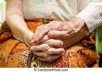 Affectionate touch of a caring husband - Elderly couple -...