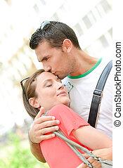 affectueux, couple, ville