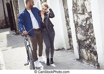 affectueux, marche, trottoirs, couple