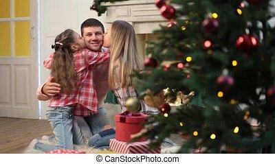 affectueux, noël, portrait famille