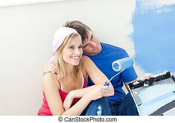 affectueux, peinture, couple, salle