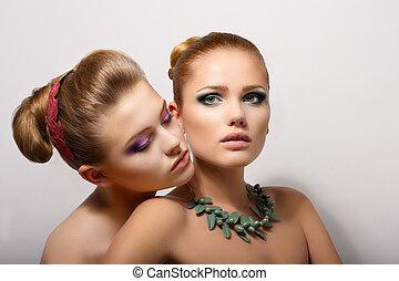 affectueux, women., couple, jeune, desire., affection, passion.