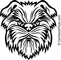 Affenpinscher Monkey Terrier Dog Head Mascot Black and White