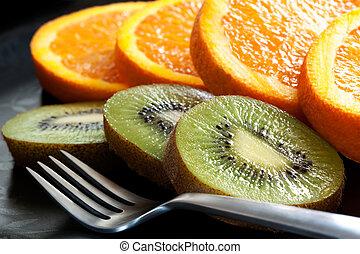 affettato, arancia, frutta, kiwi