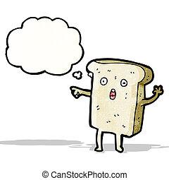 affettato, carattere, cartone animato, abbicare, bread