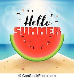 affettato, estate, anguria, ciao, iscrizione
