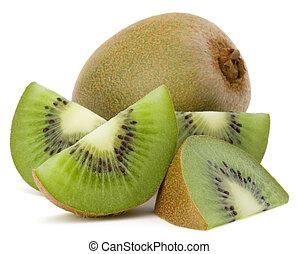 affettato, frutta kiwi, isolato, bianco, fondo, disinserimento