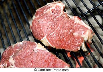 affettato, griglia, conchiglia, magro, bistecche