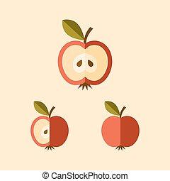 affettato, mela, icona