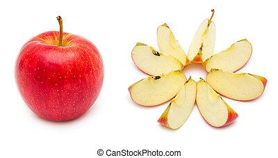 affettato, mela intera, rosso